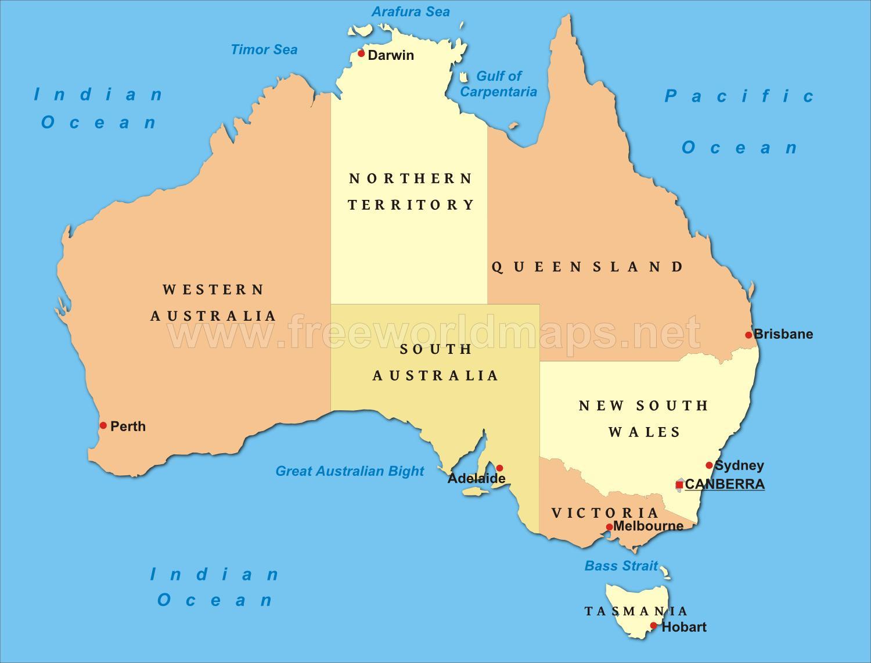 Harte Politike Te Australise Australi Harta Politike Australia